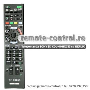 Telecomanda RM-ED058 SONY KDL-70X850B 3D cu NETFLIX
